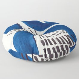 Colorful Mid Century Modern Abstract Fun Shapes Patterns Navy Blue Abstract Expressionism Floor Pillow