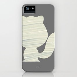 Cat silhouette in grey texture iPhone Case