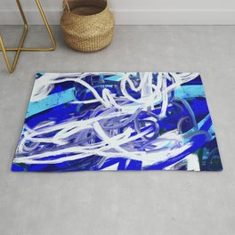 Blue & White Abstract Rug