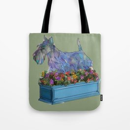 Animals in Gardens: Scotty in a Flower Box Tote Bag