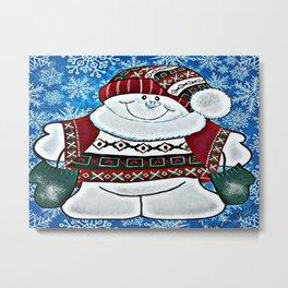 Bundled Up Snowman Metal Print