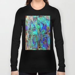Neon Blue Houses Long Sleeve T-shirt