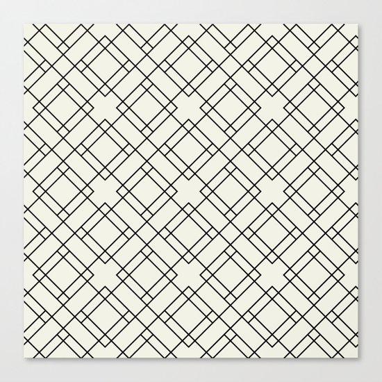 Simply Mod Diamond Black and Cream Canvas Print