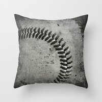 baseball Throw Pillows featuring Baseball by Christy Leigh