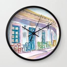 Little Harbour Bar Restaurant in Pictoresque Greece Wall Clock