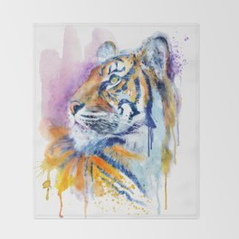 Young Tiger Watercolor Portrait Throw Blanket
