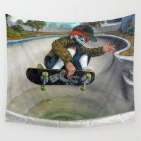 calavera Wall Tapestries featuring Pool Calavera by Jonathan  Bergeron