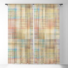 Multicolored patchwork mosaic pattern Sheer Curtain