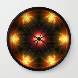 Fractal Rainbow Flowers Wall Clock