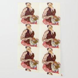 """Egon Schiele """"Lovers"""" Wallpaper"""
