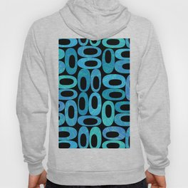 Modern mid century organic blue oval shapes on dark background Hoody
