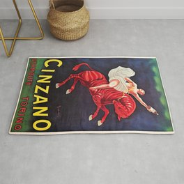 Vintage Cinzano Vermouth Red Zebra Advertising Wall Art in full color Rug