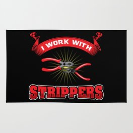 Funny ELECTRICIAN Pun: I Work With Strippers I am An Electrician Lineman Gift Rug