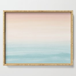 Touching Watercolor Abstract Beach Dream #3 #painting #decor #art #society6 Serving Tray