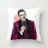selena gomez Throw Pillows featuring Gomez by Myrtle Quillamor