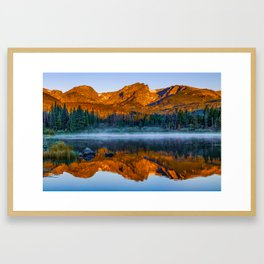 Rocky Mountain Park Mountain Landscape - Colorful Sunrise Reflections Framed Art Print