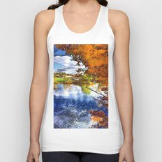 Romantic Fall River Town Nature View Unisex Tank Top