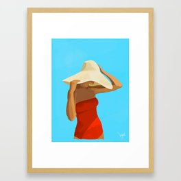 At The Beach: Red Suit Framed Art Print