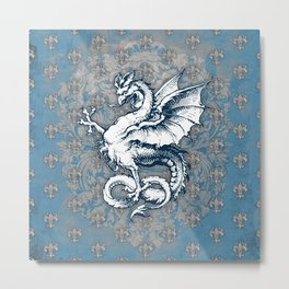 Noble House STEEL BLUE / Grungy heraldry design Metal Print