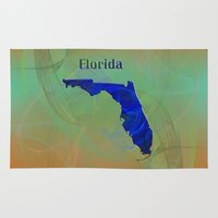 florida Area & Throw Rugs featuring Florida Map by Roger Wedegis