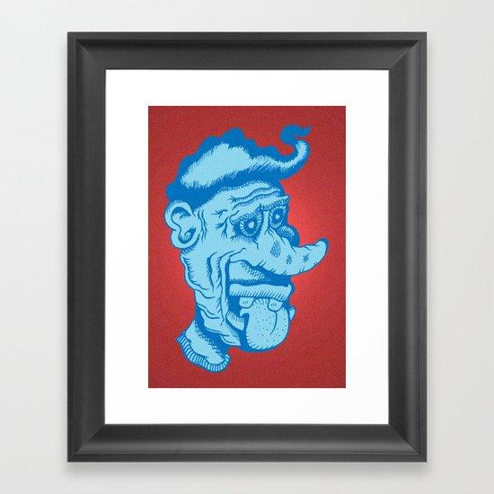 Monster Greaser in Blue Framed Art Print
