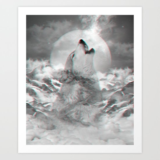 Maybe the Wolf Is In Love with the Moon v.2 (3D Effect) Art Print