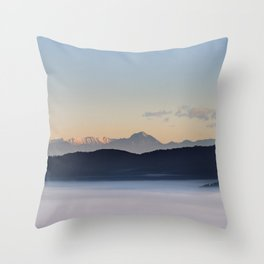 Slovenian mountains and morning fog in valley Throw Pillow