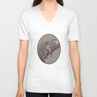 racoon V-neck T-shirts featuring Racoon sleeping by Pendientera