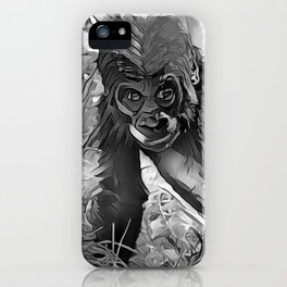 AnimalArtBW_Gorilla_20170607_by_JAMColorsSpecial iPhone Case