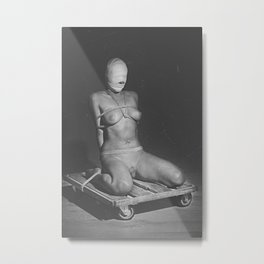 Naked woman tied up with rope and image in black and white Metal Print