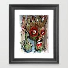zombie flips the bird Framed Art Print