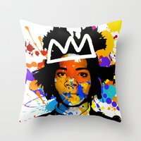 basquiat Throw Pillows featuring BASQUIAT by SebinLondon