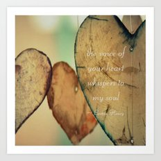 The Voice Of Your Heart Whispers To My Soul - Wind Chimes - Rustic - Wedding - Valentine's Day Art Print