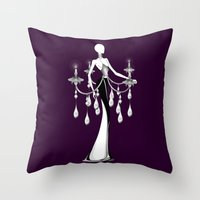 chandelier Throw Pillows featuring Chandelier by Selena Gazda