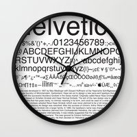 helvetica Wall Clocks featuring Helvetica (Black) by Zuno