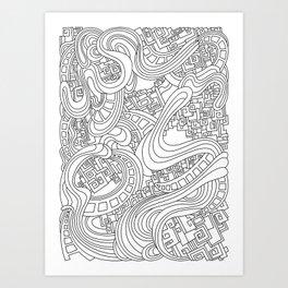 Wandering 45: black & white line art Art Print