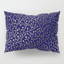 Gold Berry Branches on Navy Pillow Sham