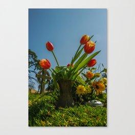 Churchyard Tulips Canvas Print