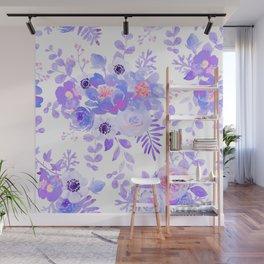 Lilac lavender violet pink watercolor elegant floral Wall Mural