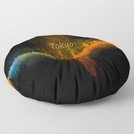 Tokyo City Skyline Hq V4 Floor Pillow