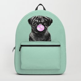 Bubble Gum Popped on Black Pug (1 in series of 3) Backpack