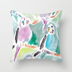 Budgies on Branches Throw Pillow