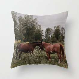 Horses in The Field Throw Pillow