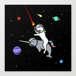 Unicorn Riding Narwhal In Space Canvas Print