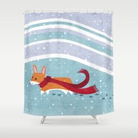 corgi Shower Curtains featuring Winter Corgi by Jackie Sullivan