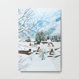 Snowy mountain town watercolor painting  Metal Print