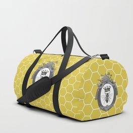 Queen Bee   Vintage Bee with Crown   Honeycomb   Duffle Bag