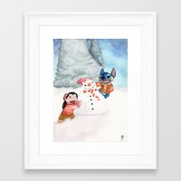 lilo and stitch Framed Art Prints featuring Lilo and Stitch by Walko