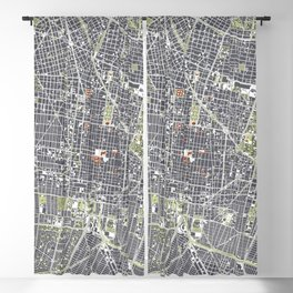 Mexico city map engraving Blackout Curtain