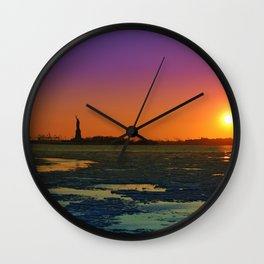 Statue of Liberty. Winter evening Wall Clock